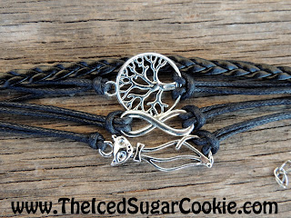 Kitty Cat Infinity Sign Tree Of Life Black Leather Bracelet by The Iced Sugar Cookie