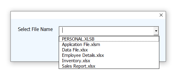 Names of all the opened Excel files are in dropdown list