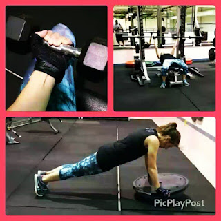 weight lifting collage push ups curls bench press gloves training