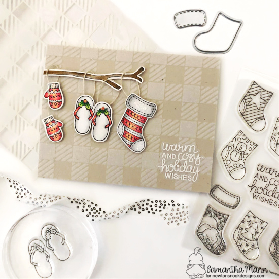 Warm & Cozy Card by Samantha Mann | Holiday Stockings, Sweater Weather and Sun Soaked Christmas Stamp Sets & Gingham Stencil by Newton's Nook Designs