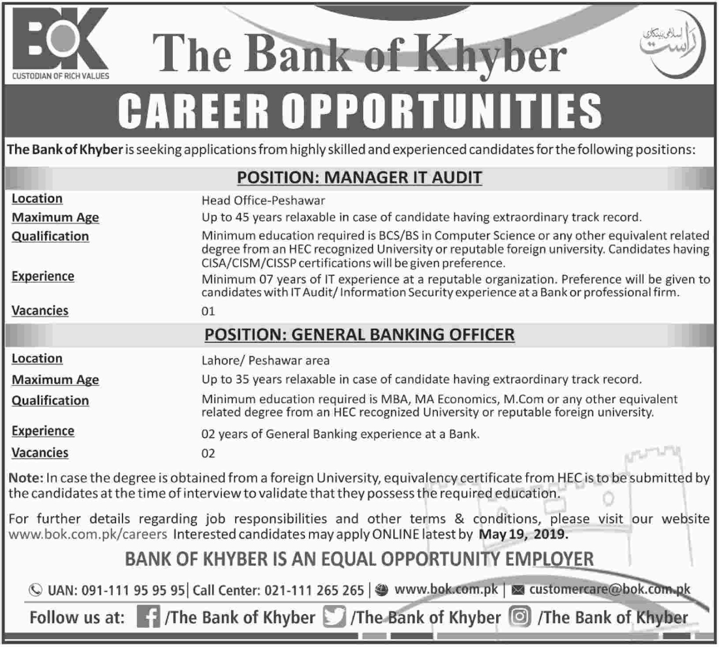The Bank of Khyber Jobs 2019 | Latest New Vacancies