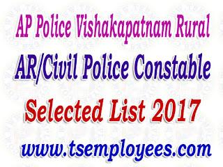 AP Police Vishakapatnam Rural AR/Civil Police Constable Selection List 2017 Merit List Marks