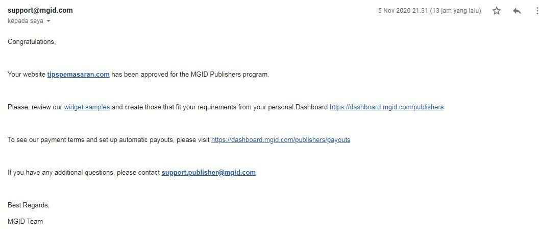 Email di terima menjadi publisher mgid