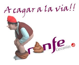 Figura de caganer defecando sobre el logo de Renfe Cercanías