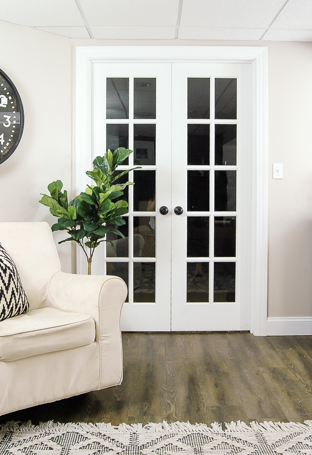 basement french doors painted white