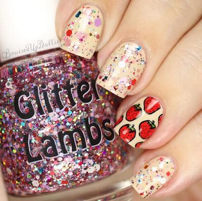 """Strawberry ShortCake"" Glitter Lambs Nail Polish Swatched by @BruisedUpDollie"