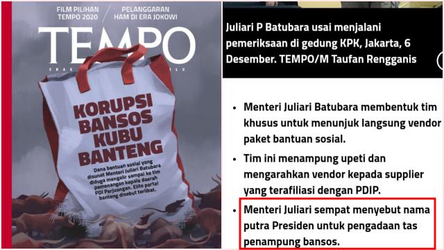 Heboh, <i>TEMPO</i> Ungkap Pengadaan Goodie Bag Bansos Atas Rekomendasi Gibran Putera Jokowi