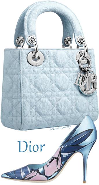 Light blue Lady Dior top-handle bag & Dior blue and pink satin pumps #brilliantluxury