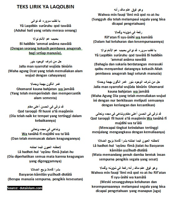 ya laqolbin arab dan latin beserta artinya
