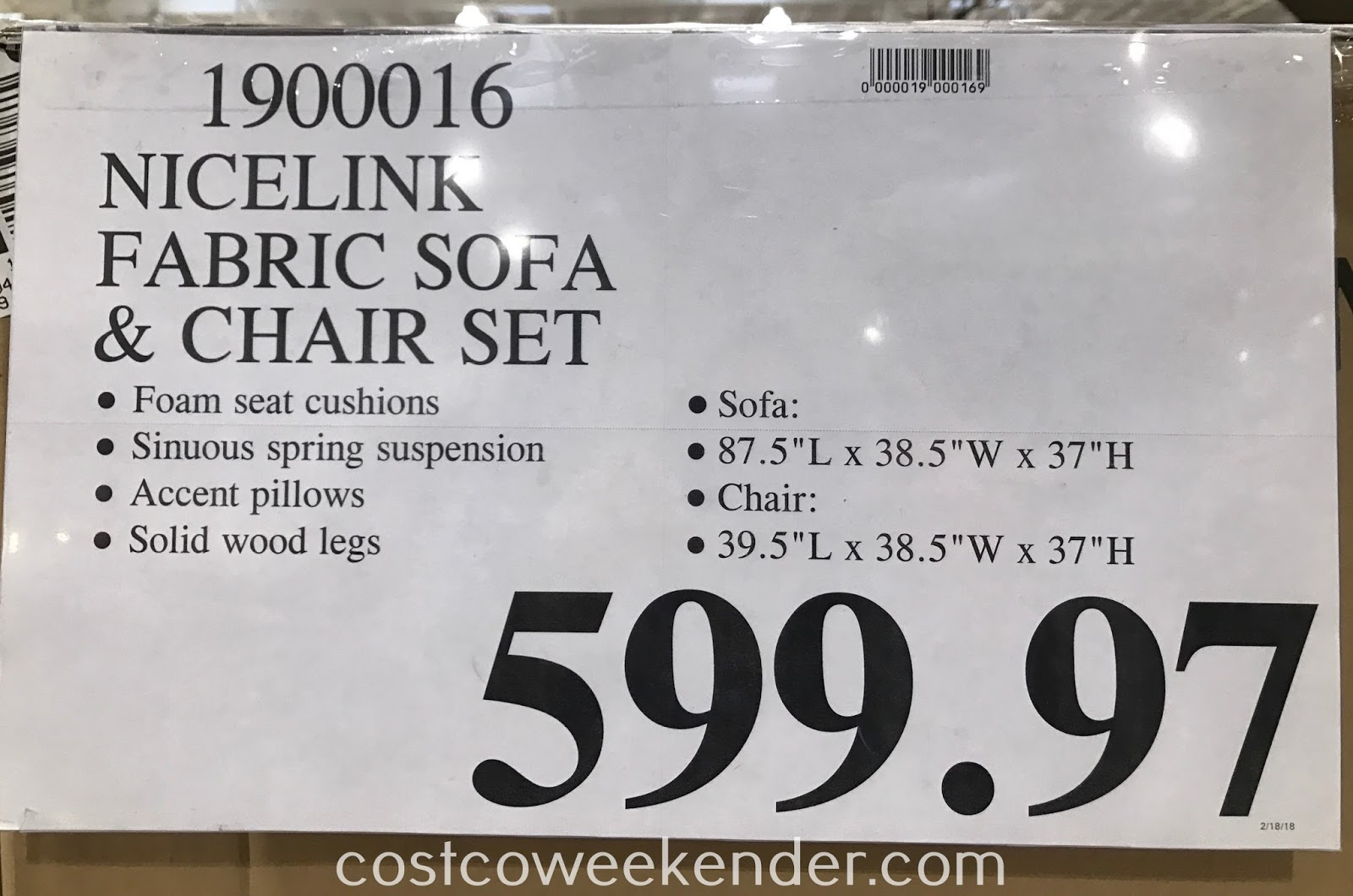 Deal for the NiceLink Fabric Sofa and Chair Set at Costco