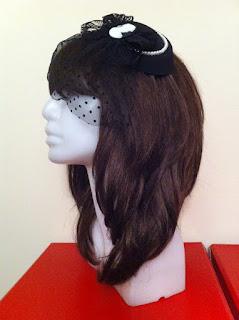 siyah beyaz cameo şapka gelin şapkası