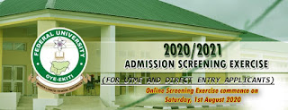 FUOYE Post-UTME / DE Screening Form 2020/2021 is Out