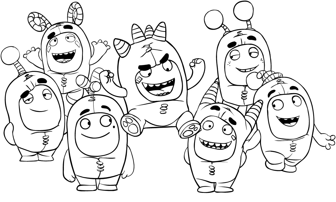 Drawing Of The Oddbods Coloring Page Free Printable