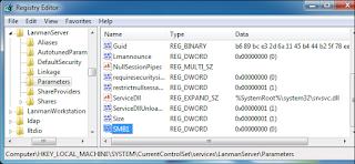 تعطيل سجل خدمة مشاركة الملفات عبر شبكة الإنترنت