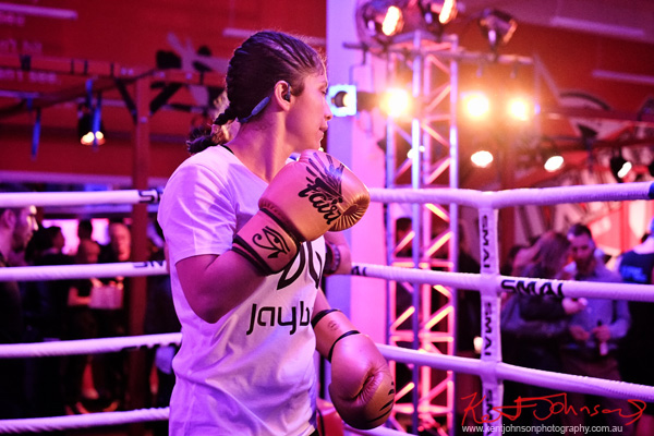 A women boxing instructor at Boxing Works Kings Cross for the Jaybird Freedom launch. Photo by Kent Johnson for Street Fashion Sydney.