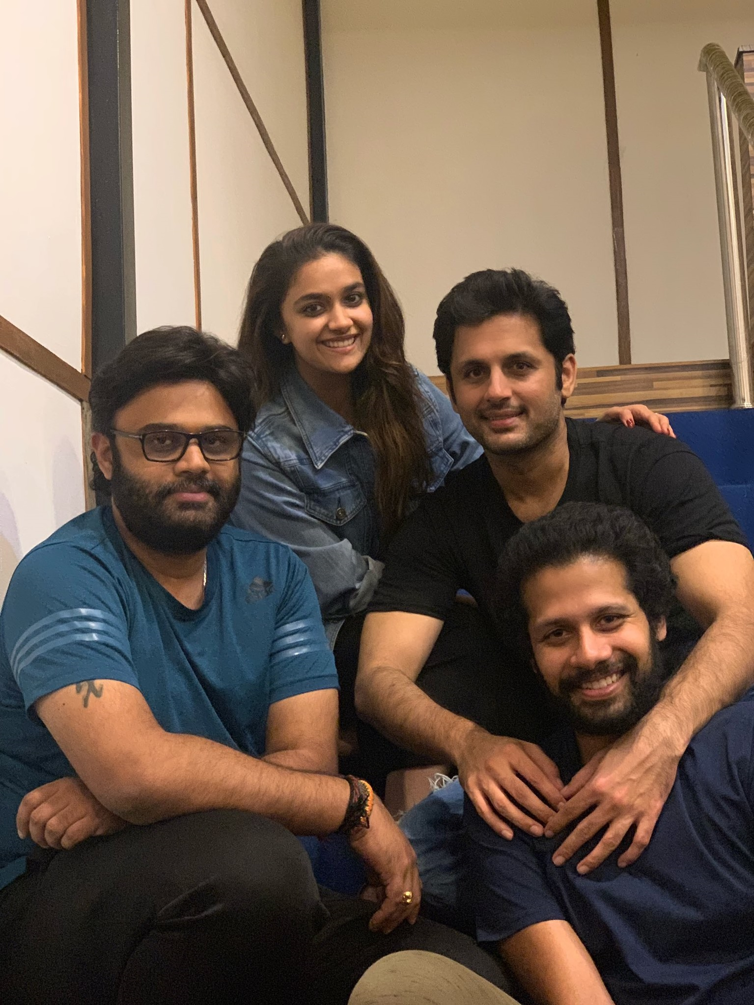 Keerthy Suresh in Blue Awesome Lovely Smile with Nithiin and RangDe Team 2