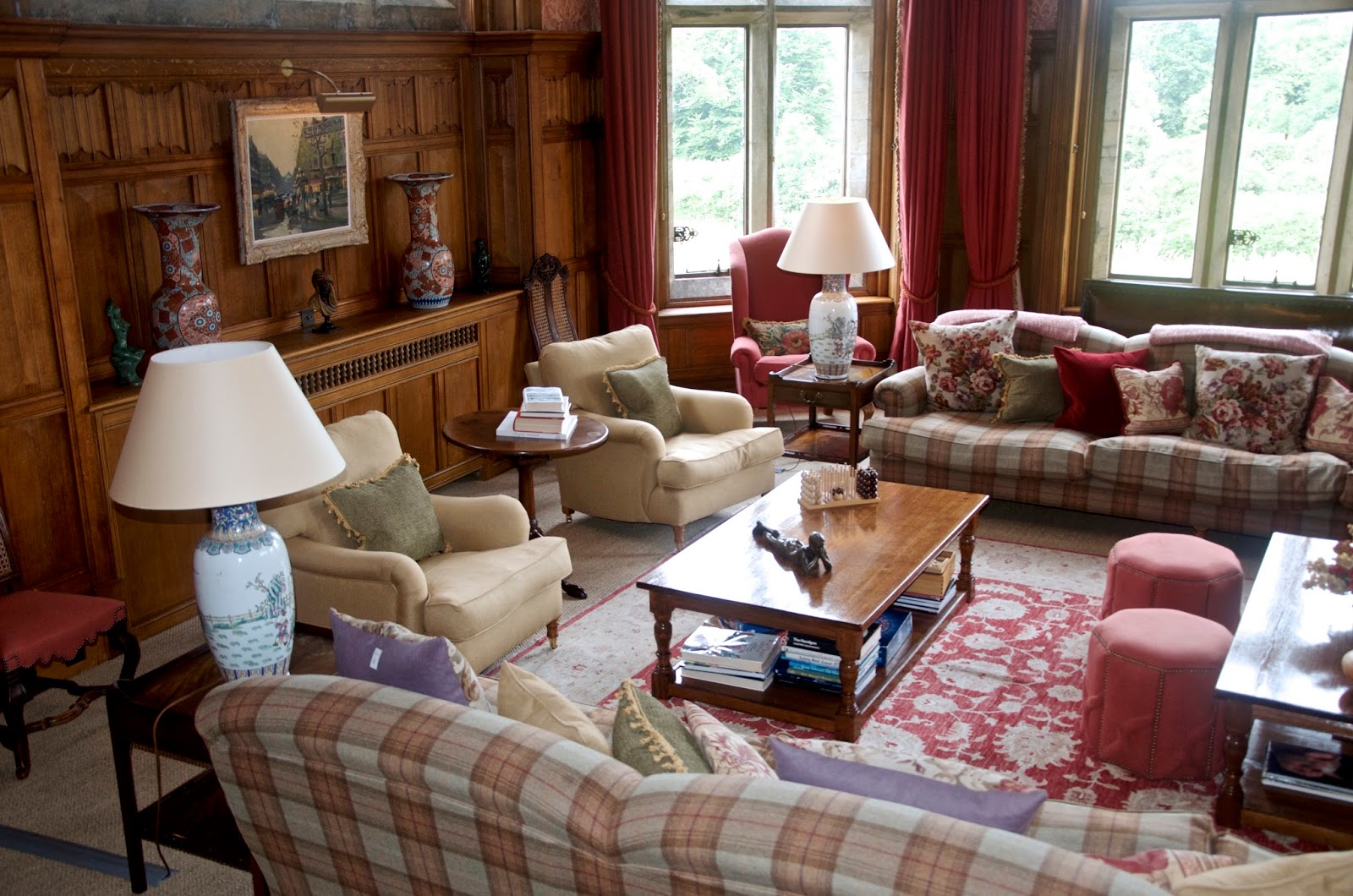 plaid sitting room