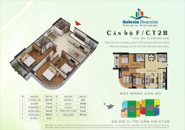 Thiết kế căn hộ F - 3 phòng ngủ tòa CT2B - CT3 Gelexia Riverside