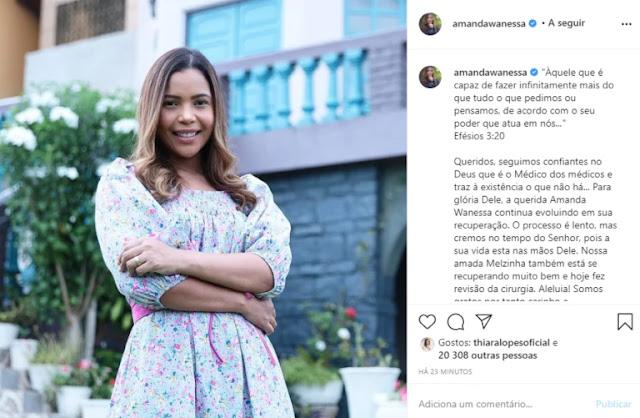 """""""Amanda Wanessa continua evoluindo em sua recuperação"""""""