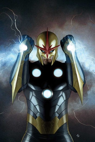Promo cover of Nova #1, featuring a man clad in a dark blue and gold superhero outfit. He wears a gold helmet with a spikey red star extending down the nosepiece, across his eyebrows, and up his forehead. Three glowing circles form a triangle on his torso, while additional glowing circles adorn the back of each of his upraised hands. Lightning crackles around him.