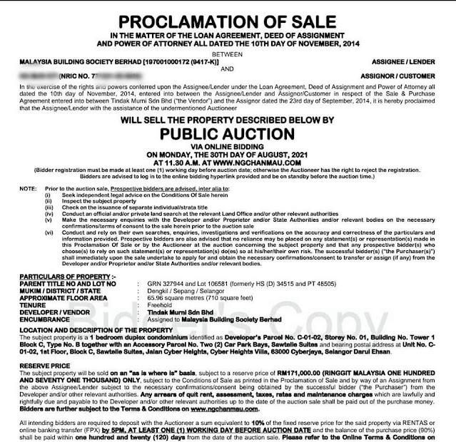 proclamation of sale rumah lelong di Cyberjaya
