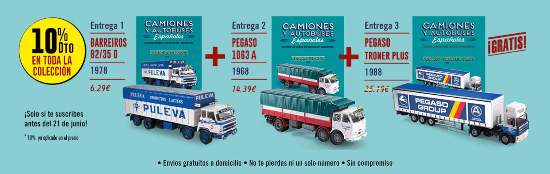 coleccion camiones y autobuses españoles 1:43 salvat, regalos para suscriptores