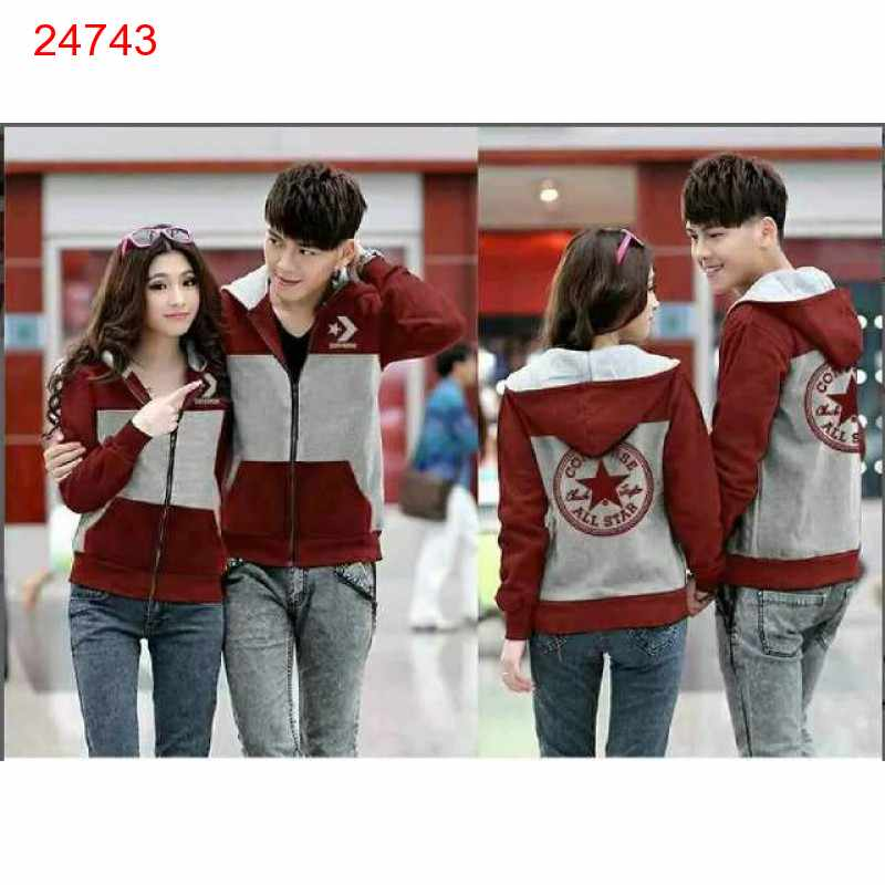 Jual Jacket Couple Jacket Converse Bintang Merah Abu - 24743