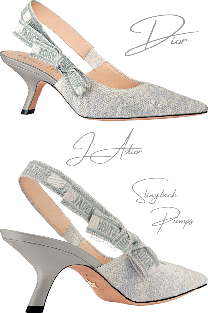 Gray and ecru Dior J'Adior slingback pumps in embroidered cotton with Toile de Jouy motif #brilliantluxury