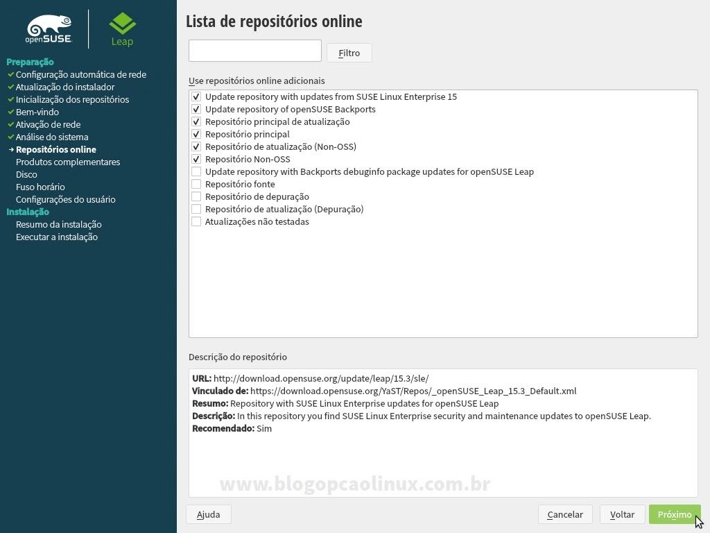 Será exibido uma lista com os repositórios oficiais do openSUSE Leap