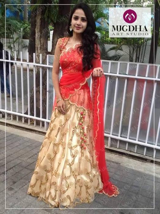 Beige Red Half Sari by Shashi