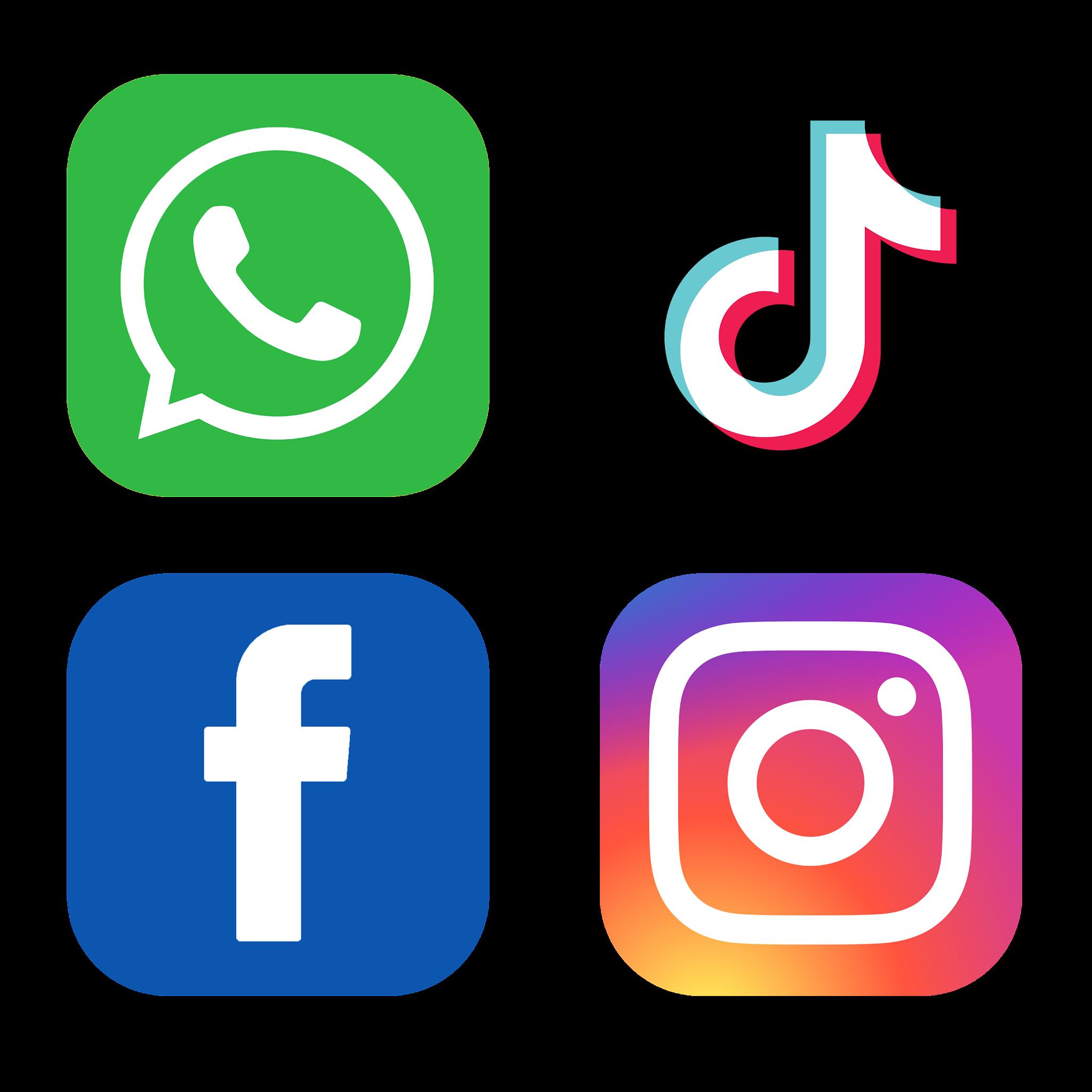 تحميل ايقونات التواصل الاجتماعي فيس بوك انستقرام واتساب تيك توك Social Media Logos PNG