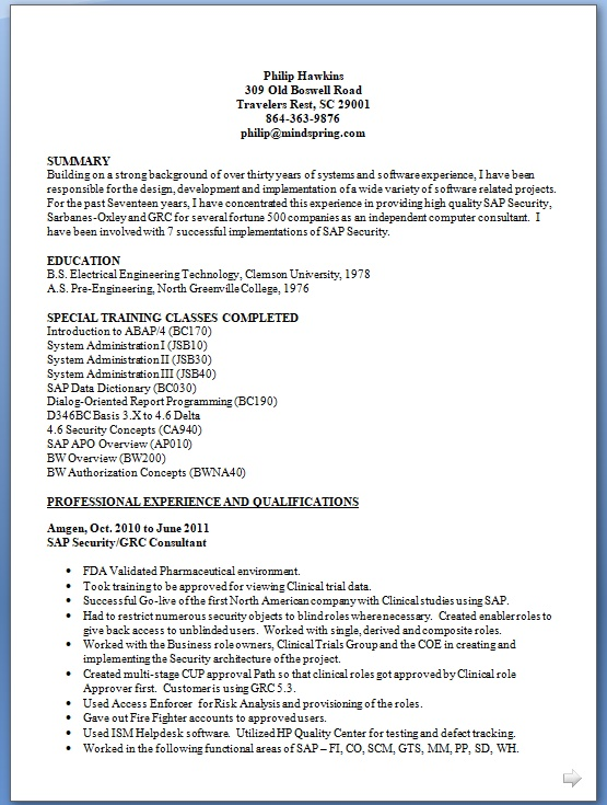 sample format of a resumes