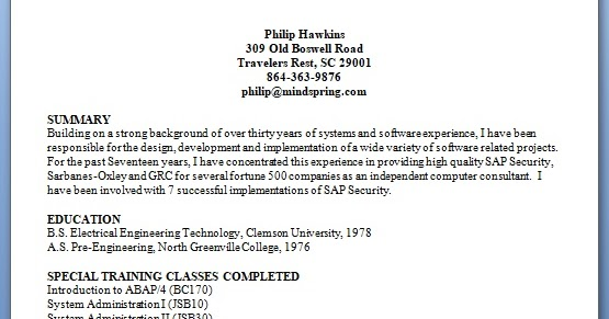 sap security consultant sample resume format in word free