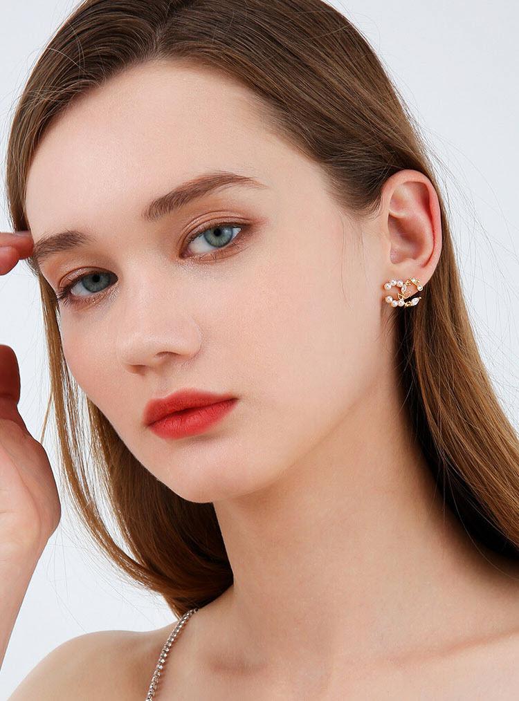 浪漫飛舞鋯石擬珍珠耳環