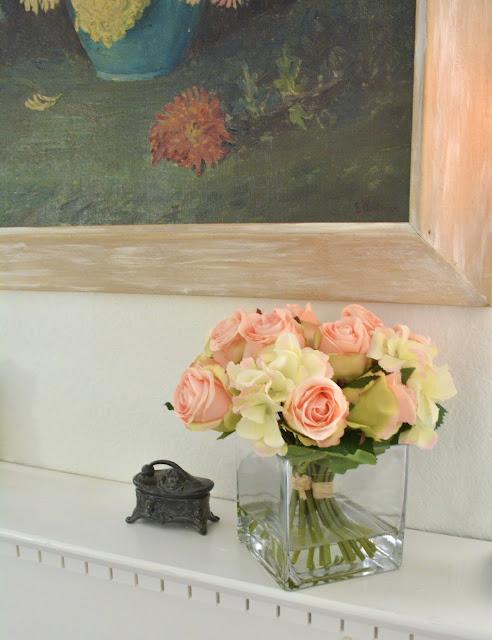Nearly Natural, Roses, Hydrangeas, White Mantel