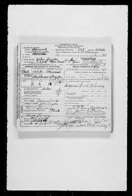 Climbing my family tree: John Snyder, 1854-1925, death certificate