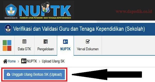 Upload Ulang SK di Verval PTK, Update Versi Terbaru 2.4. Merupakan Tampilan Menu Baru Perubahan