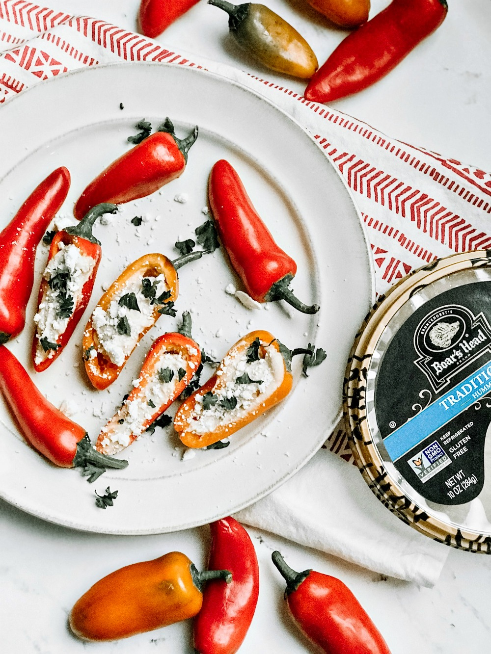 hummus stuffed peppers recipe appetizer
