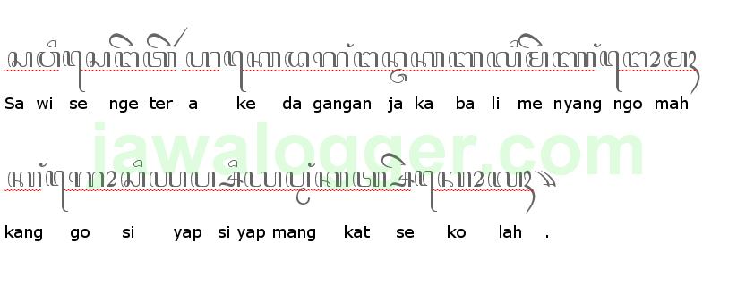 contoh kalimat aksara Jawa dan artinya
