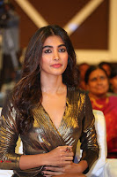 Pooja Hegde looks glamarous in deep neck sleevless short tight golden gown at Duvvada Jagannadham thank you meet function 122.JPG