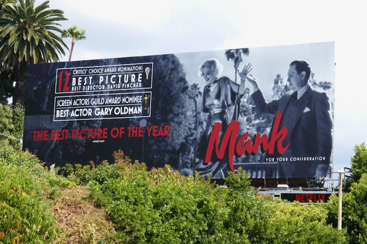 Mank Critics Choice Awards nominee billboard