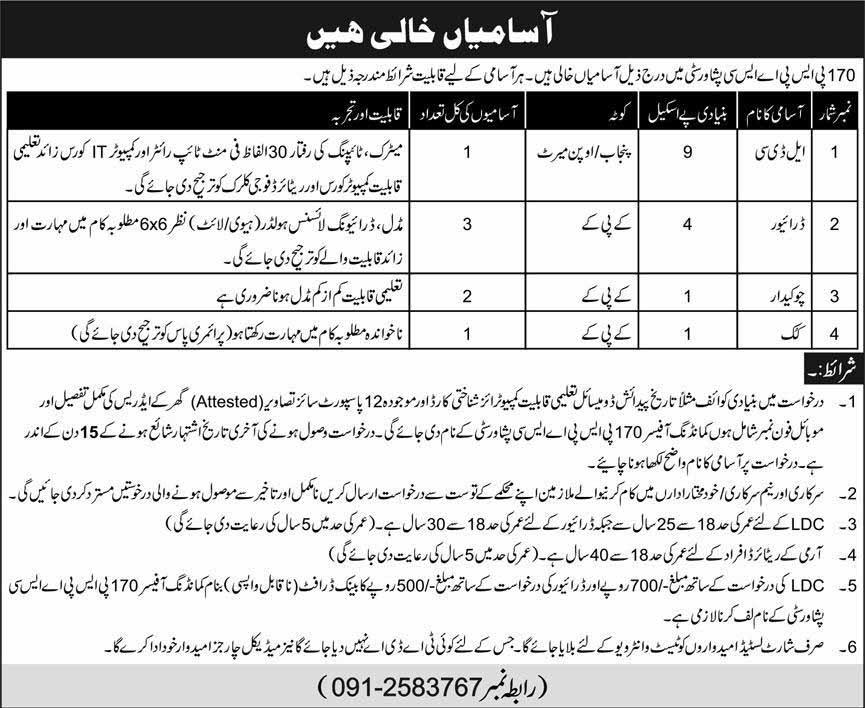 Pak Army july jobs 2020