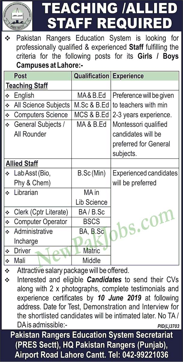 Jobs in Pakistan Rangers Education System for male and Female 2019