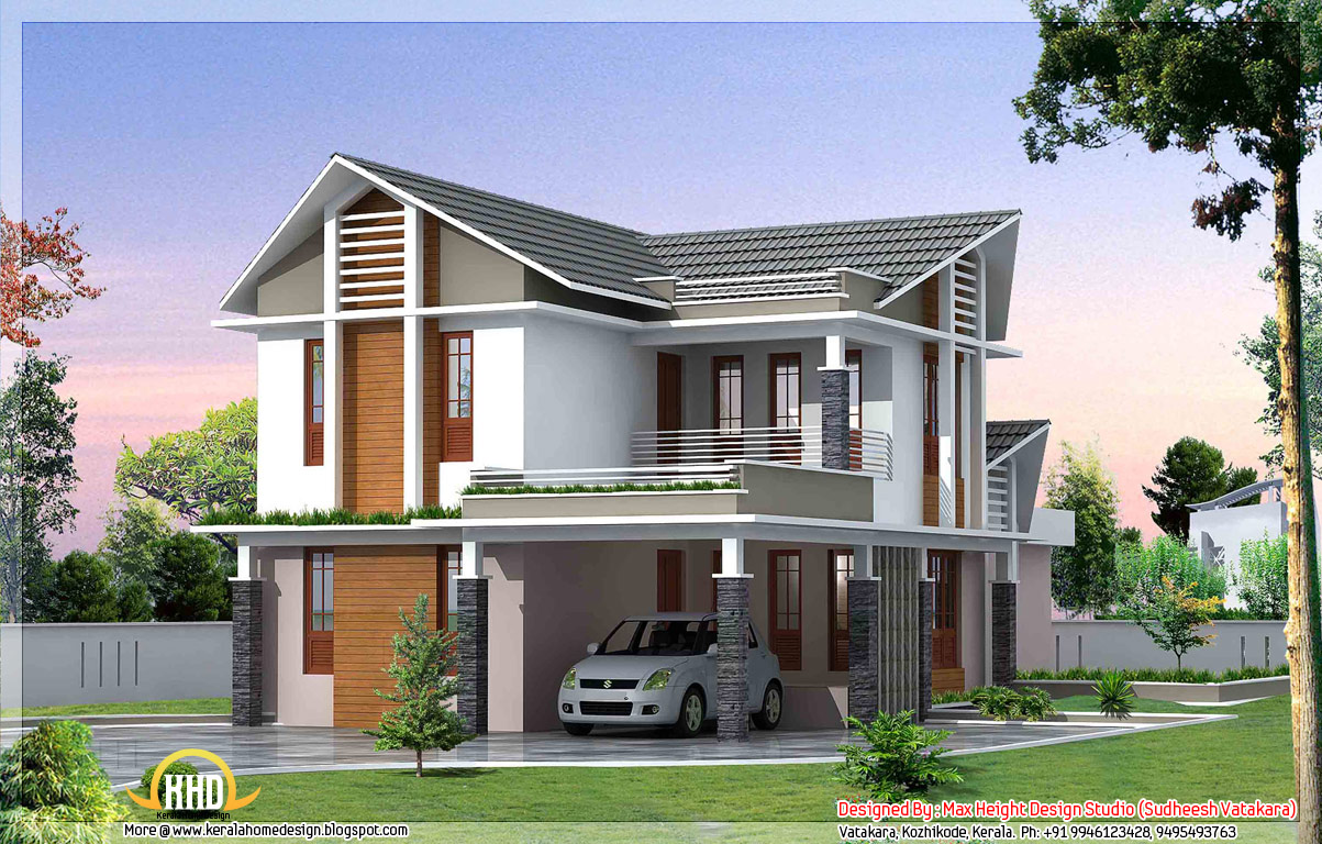 Feet Front Home Elevation : Beautiful kerala style house elevations home