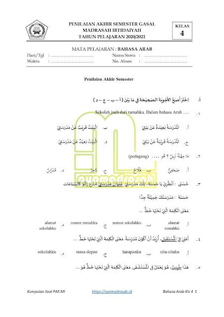 Soal PAS Bahasa Arab untuk MI
