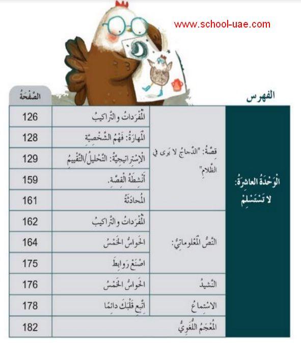 كتاب الطالب لغة عربية للصف الثانى الفصل الثالث 2020 الامارات