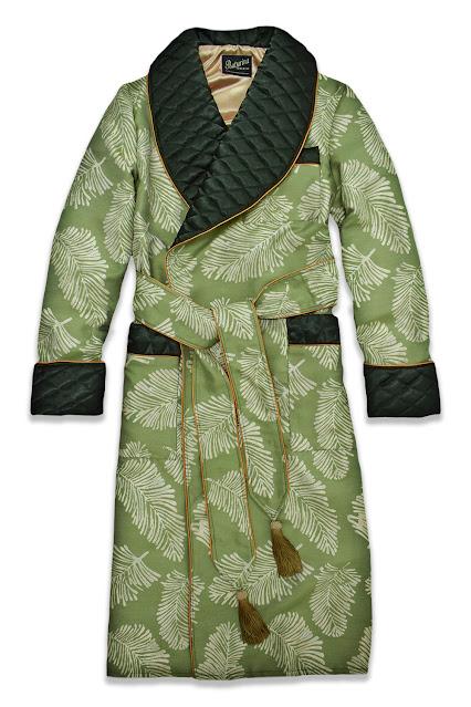 herren morgenmantel grün gold paisley baumwolle seide gesteppt edel elegant gefüttert lang luxus morgenrock