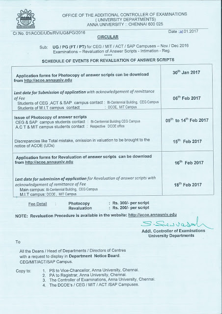 Anna University Notification for UD Revaluation Details for Nov Dec 2016 Exams
