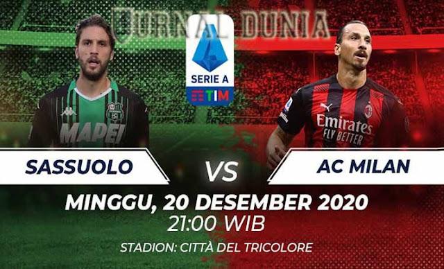 Prediksi Sassuolo vs AC Milan, Minggu 20 Desember 2020 Pukul 21.00 WIB