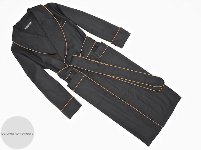 mens lightweight black gold cotton robe traditional dressing gown english british vintage smoking jacket